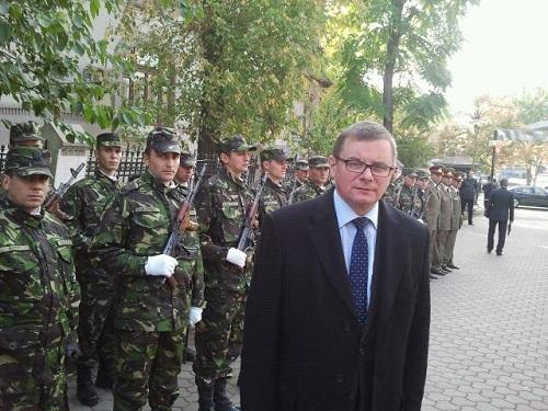 gwardiKompania honorowa Ministerstwa Obrony Rumunii uświetniająca wczorajszą uroczystość odsłonięcia pomnika Marszałka Józefa Piłsudskiego w Bukareszcie