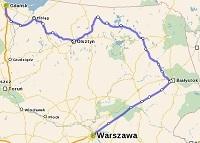 Trasa pociągu relacji Warszawa - Gdańsk